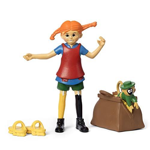 Micki & Friends 44379300 - Pippi Langstrumpf Spielfiguren - Pippi, Geldsack & Affen Herr Nilsson, Schuhe mit Scheuerbürsten - 4-teilig - Puppen - Puppenhaus-Zubehör - ab 3 Jahre - Minipuppen