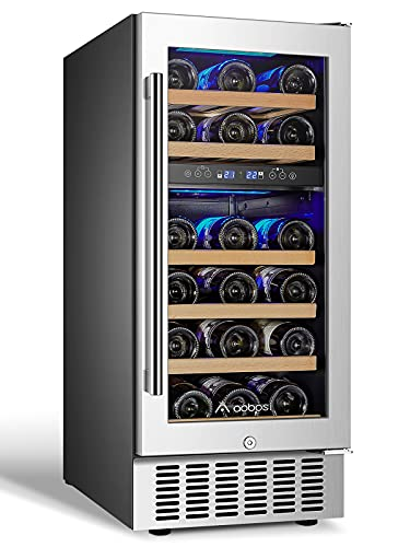 【Upgraded】AAOBOSI 15 Inch Wine Cooler, 28 Bottle Dual Zone Wine Refrigerator with Stainless Steel Tempered Glass Door, Temp Memory Function, Fit Champagne Bottles, Freestanding and Built-in Style