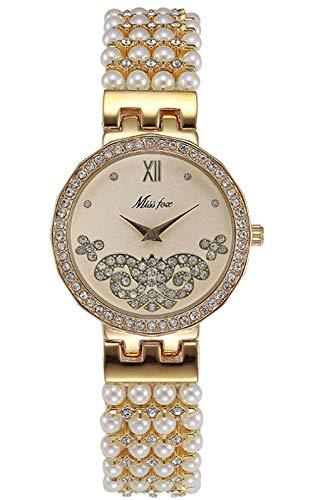 MLHXHX Banda de acero fina perla reloj de cuarzo impermeable joyería hebilla reloj redondo con diamante aleación perla reloj oro rosa