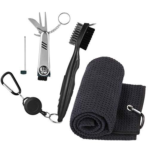 tiopeia 3 Stücke Golf Zubehör Set mit Golf Handtuch, Golfschläger Bürste und Faltbares Multifunktionswerkzeug, Golfschläger Reiniger Kit