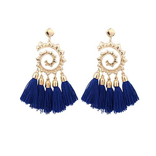 Janly Clearance Sale Pendientes para mujer, de moda europea y americana, tejidos a mano, largos bohemios con borlas, conjuntos de joyas, día de San Valentín (azul)