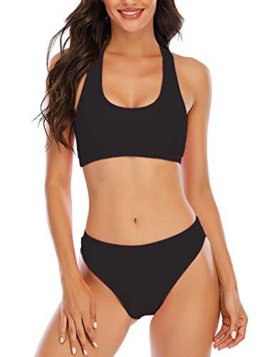YELAIVP Einfarbige Bikini-Sets mit Racerback und hoher Taille, sportlicher, zweiteiliger Badeanzug mit U-Ausschnitt für Damen - Schwarz - Medium