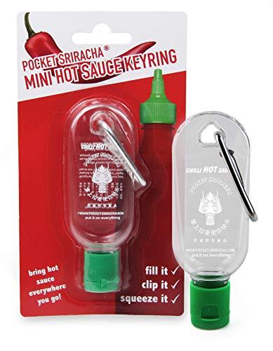 Mini Sriracha Hot Sauce Fles Sleutelhanger - Pocket Sriracha - Breng Hete Saus overal mee naar toe - Geweldig Chilli Saus cadeau (geschept leeg)