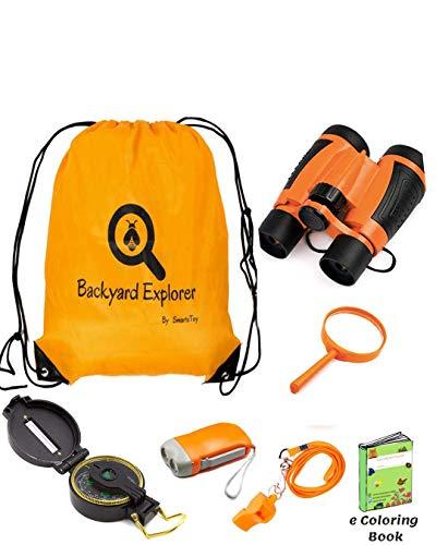 Kids Binoculars Explorer Kit for Children - Toy Set With Magnifying Glass,...