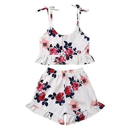 BOBORA Ensemble Bébé Fille Été, 2PCs Vêtements Bébé Fille T-Shirt Floral à sans Manches avec Short en Coton 0-3Ans