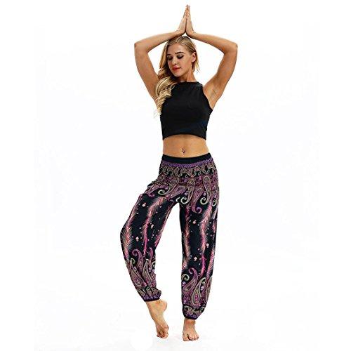 Huihong Damen Haremshose Pumphose Beiläufige Lose Hippie Yoga Hose Baggy Boho Aladin Hose Blumenmuster Hose breite Beinhosen (Lila-C, Free Size)
