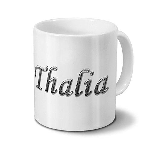 printplanet Tasse mit Namen Thalia - Motiv Chrom-Schriftzug - Namenstasse, Kaffeebecher, Mug, Becher, Kaffeetasse - Farbe Weiß