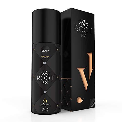 YoungHair The Root Fix Schwarz Haarfarbe-Spray Retoucher-Ansatzspray für graue Haare, 125ml