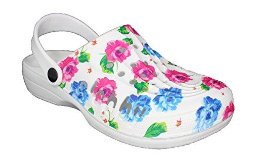 Slobbys Damen Eva Clogs | Hausschuhe Gartenclogs | Freizeit Sommer Schuhe Gr.36-42 (36, 00574 Fuchsia)