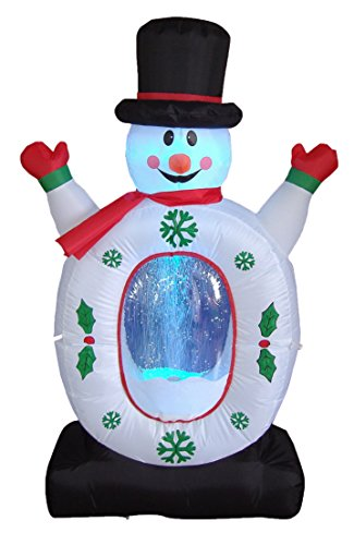 4 Foot Christmas Inflatable Snowman Snowflake Snow Globe Yard Decoration LED Lights Decor Outdoor Indoor Holiday Decorations, Blow up Lighted Yard Decor, Lawn Inflatables Home Family Outside