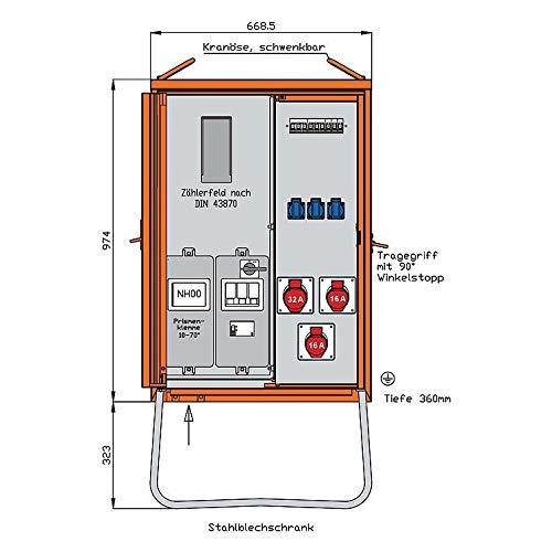 Walther Werke Anschlussverteilerschrank WAV0100BR1 22kVA m.Zählerplatz Baustromverteiler 4015609068753