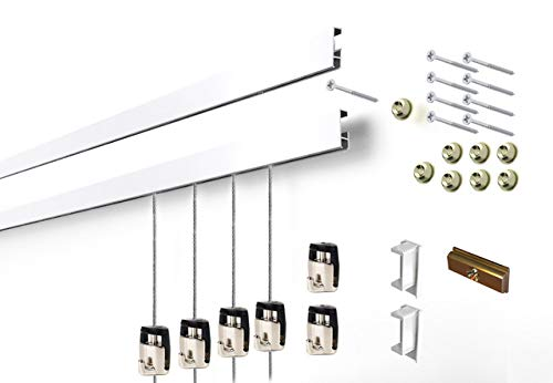 Cliprail Complete Art Hanging Gallery System with Superior Design Cam Hooks 10 Rails 30 Hooks and 20 Cables Matte Silver Rails