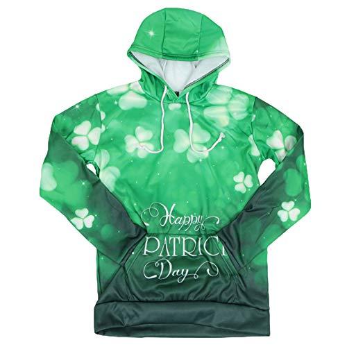 ABOOFAN Mujeres Hombres Feliz St. Patricks Day Sudadera 3D Green Shamrock Lucky Clover Leaf Patrón de Tela Pareja St. Disfraz de Patricks Day XL