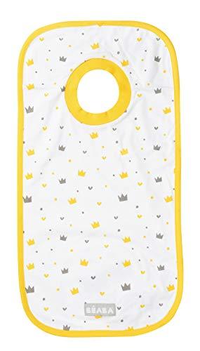 BÉABA, Bavoir bébé/enfant, Haute protection, Doux et absorbant, 100% Coton, Utilisable de la naissance à la maternelle, Pochette de transport, Motif Couronnes