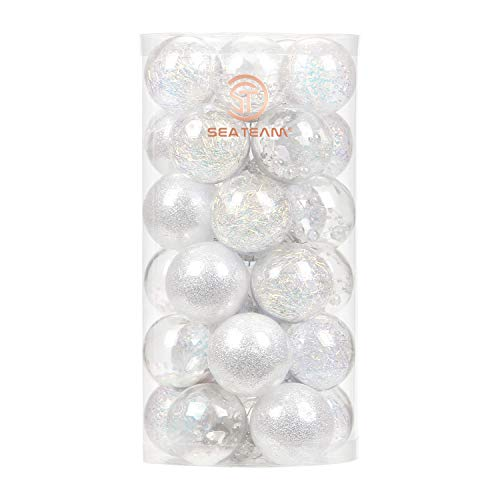 Sea Team 50mm/1.97' Shatterproof Clear Plastic Christmas Ball Ornaments Decorative Xmas Balls Baubles Set with Stuffed Delicate Decorations (30 Counts, Iridescent)