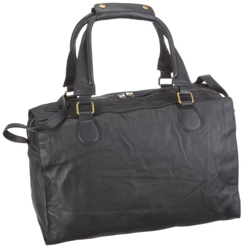 Friis & Company Exelsior Weekendbag 1140111, Damen Schultertaschen, Schwarz (Black 001), 42x28x22 cm (B x H x T)