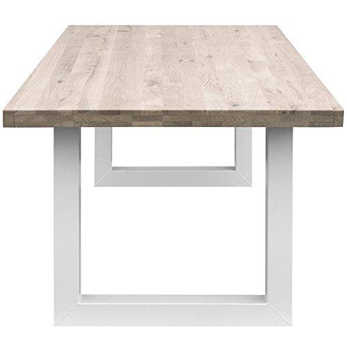 COMIFORT Mesa Comedor - Mueble de Oficina de Roble Macizo Blanqueado, Canto Recto, Fabricado en Europa, Patas de Acero con Acabado Blanco, Medidas de 160 x 90 cm