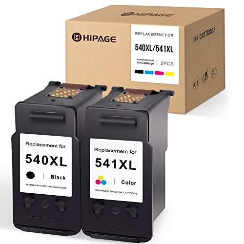 HIPAGE 540xl 541xl Multipack Compatibile per Canon PG-540 XL CL-541 XL 540 541 XL Cartucce per stampanti per Canon PIXMA TS5150 MX475 TS5151 MX395 MG2150 MG2250 MG3150 MG4150 MG4250(Nero, Colore)