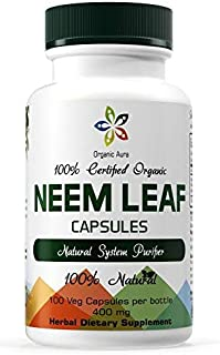 Organic Aura Neem Capsules. Natures Miracle Detoxifying Agent. Promotes Healthy Respiratory, Digestive and Immune System. 100% Natural and Raw Superfood Supplement. No GMO. Gluten Free.