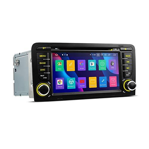 Doble Din Android 10.0 Car Stereo Auto Radio Reproductor de DVD Pantalla táctil de 7 pulgadas Navegación GPS Unidad principal Soporte Bluetooth WIFI CarAuto Play DVR DAB + TPMS para AUDI A3 S3 RS3
