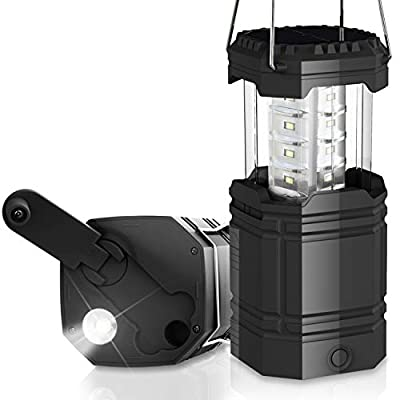 LED Camping Lantern, Solar Hand Crank Emergency Lantern 3 Ways Powered, 2 Light Modes Waterproof Tent Light, 3000mAh Power Bank, Rechargeable, Collapsible, Perfect for Hurricane,Emergency,Hiking,Home
