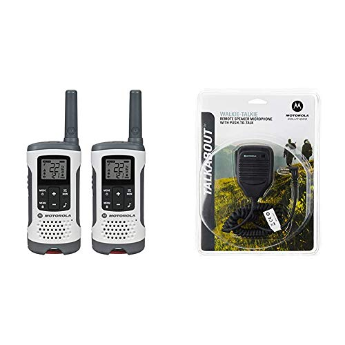 Motorola T260 Talkabout Radio, 2 Pack & Motorola 53724 Remote Speaker Microphone (Black)