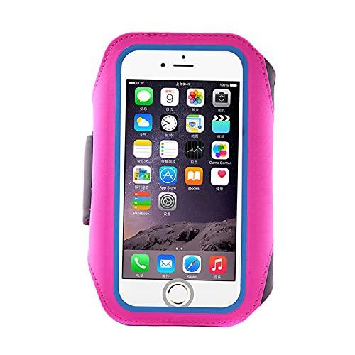 Brazalete para teléfono móvil de 5,5 pulgadas con correa de lycra rosa rojo compatible con teléfono móvil de 5,5 pulgadas