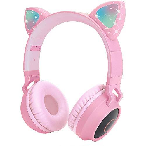 Cuffie Bluetooth con orecchie di gatto con luce LED, slot per schede SD, radio FM, jack audio da 3,5 mm, senza fili e cablate, cuffie pieghevoli per bambini, per ragazzi e ragazze e adulti (rosa)