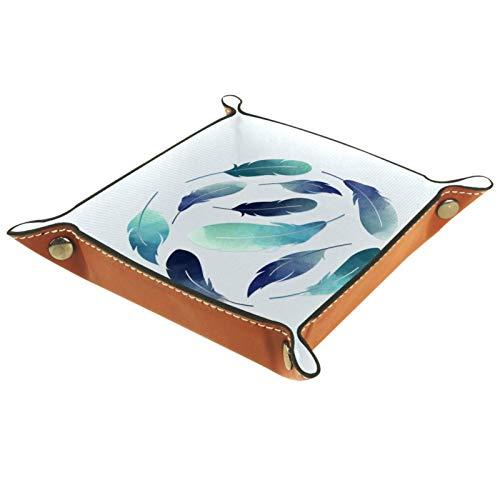 AITAI Bandeja de valet de piel vegana organizador de mesita de noche para escritorio, plato de almacenamiento Catchall azul flotantes plumas bola 01