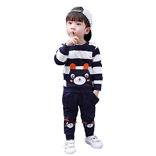 Mbby Tuta Bambino Orso, 2-5 Anni Completino Bambino Ragazza E Ragazzi 2 Pezzi Tute in Cotone Maglietta A Righe + Pantaloni Set Caldo Manica Lunga Leggera Antivento (4Anni, Navy)