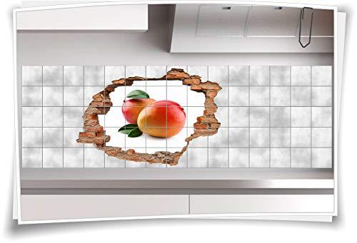 Medianlux tegelafbeelding muur doorbraak 3D tegelsticker mango fruit geneeskrachtige plant vrucht