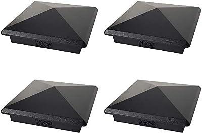 "True 4.0"" x 4.0"" Heavy Duty Aluminium Pyramid Post Cap for Wood Posts - Black (4 Pack)"