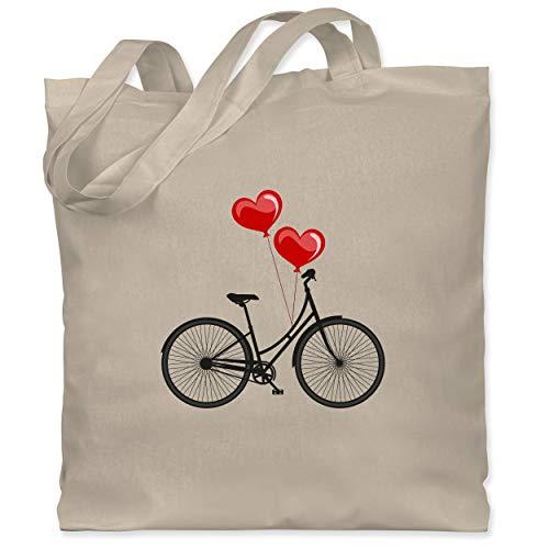 Shirtracer Statement - Fahrrad Herz Luftballons - Unisize - Naturweiß - stofftasche vintage - WM101 - Stoffbeutel aus Baumwolle Jutebeutel lange Henkel