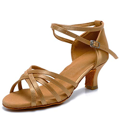 VASHCAME-Zapatos de Baile Latino de Tacón Alto/Medio para Mujer Beige 39 (Tacón-5cm)