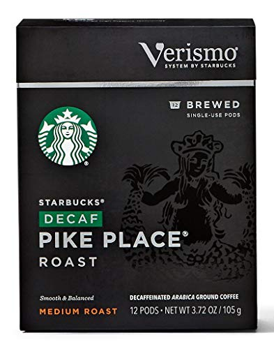 Starbucks Decaf Pike Place Roast Coffee Verismo Pods, 12 Count