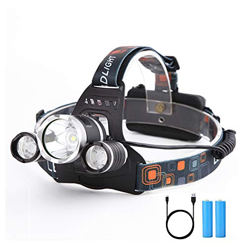 Yizhet Linterna Frontal LED Recargables Luces Super Brillantes de 6000 Lúmenes,4 Modos...