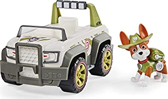 Paw Patrol 6052310 Tracker's Jungle Cruiser Vehicle with Collectible Figure, for Kids Aged 3 and Up, Grey