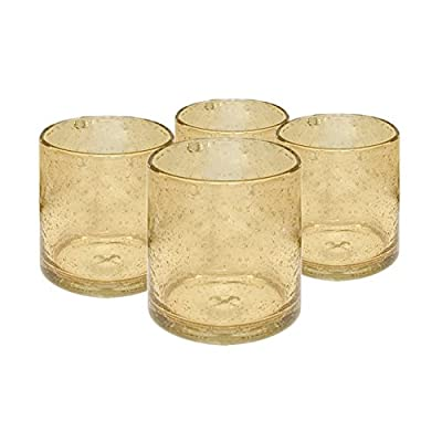 Artland Iris Seeded Citrine 14 Ounce Double Old Fashioned Glass, Set of 6