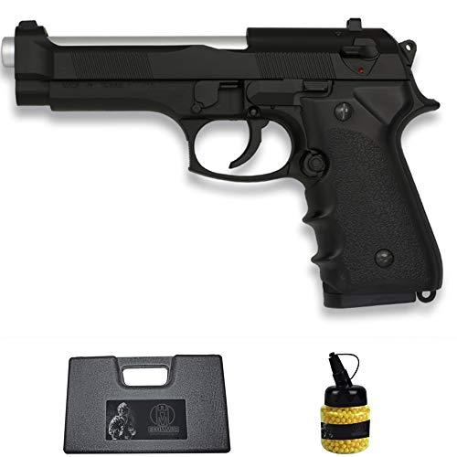 Pistola HFC-118E M92 Negra con cañón Plata (6MM) | Arma Corta de Airsoft (Bolas de plástico) Tipo Beretta 92 + maletín PVC + biberón