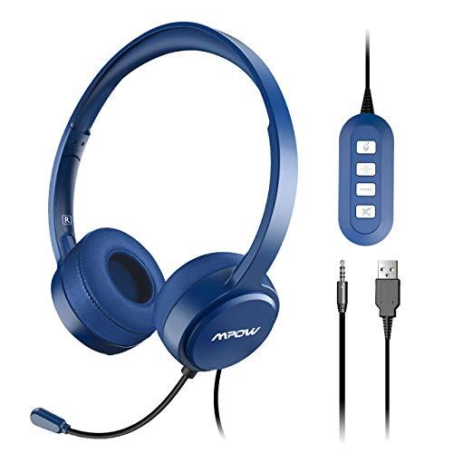 Mpow Auriculares USB PC de Teléfono Cerrados con Micrófono, Auriculares con Cbale y Reducción de Ruido, 2,4 Metros, 2 Enchufes de 3,5mm y USB, Compatible con Xbox, VoIP, Skype (Azul)