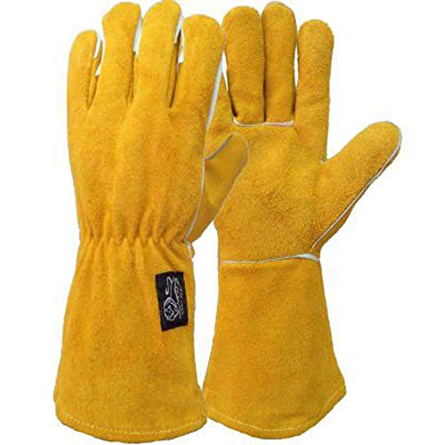 Ruvigrab 222K ovenhandschoen, gevoerd voor hoge temperaturen, open haard, grill, lassen, 1, 10, geel