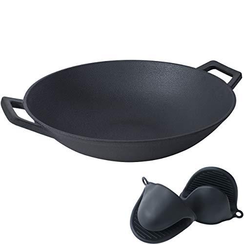 Cast Iron Wok Pfanne 34cm – Wokpfanne aus Gusseisen für Induktion, Grill & andere Kochstellen geeignet +Ofenhandschuhe
