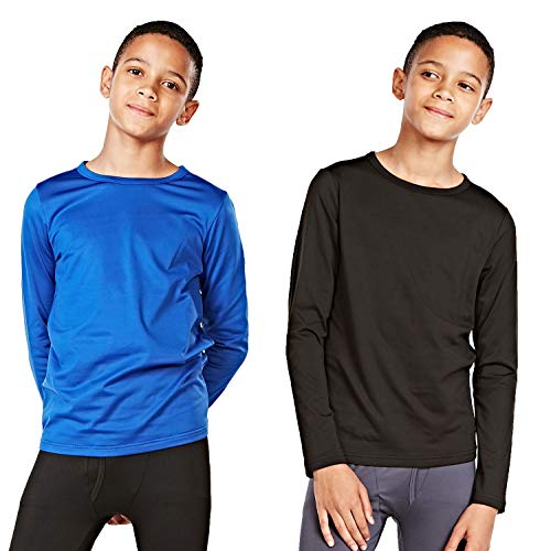 DEVOPS Boys 2-Pack Thermal Shirts Compression Long Sleeve Tops with Fleece Lined (Medium, Black/Blue)