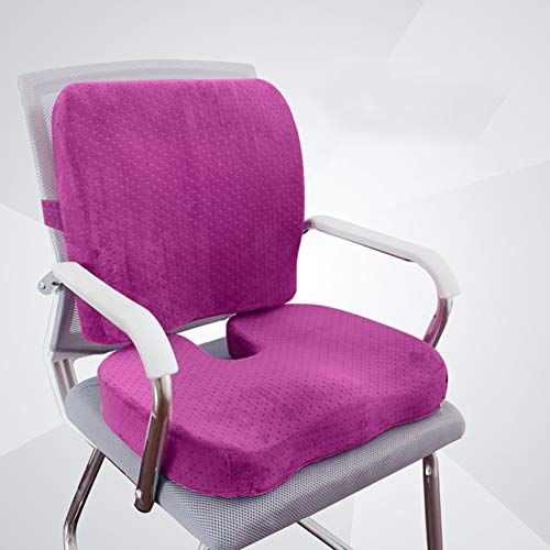 KongEU Sitzkissen Lendenwirbelstütze für Auto Büro Computer Stuhl Rollstuhl verbessert die Haltung waschbar Sitzpolster Auto Zuhause Stuhlkissen Lila
