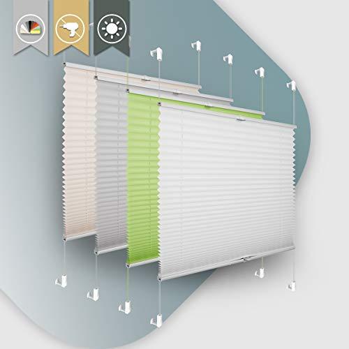 Plissee ohne Bohren klemmfix Jalousie Sonnenschutz Easyfix Faltrollo Crushed Optik Lichtdurchlässig Rollo für Fenster & Tür Weiß 80x100cm(BXH)