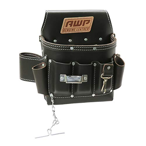 AWP Oil-Tan Leather Electrician Tool Pouch | Multi-Pocket, Tape Holder, Key Fastener, Tape Chain Tool Organization Pouch for Work Belt