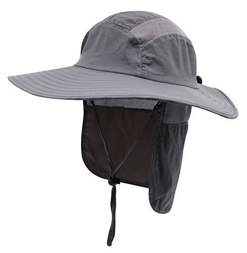 Home Prefer Adult UPF 50+ Sun Protection Cap Wide Brim Fishing Hat with Neck Flap Dark Gray