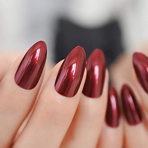 CLOAAE Acrylic Sexy Nail Tips Full Cover Shiny Nails Lacquer Nails With Adhesive Tabs 24 Ct