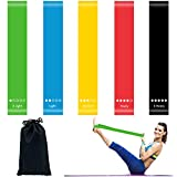 HusDow 5 Pack Resistance Bands Exercise Loops, Skin-Friendly Resistance Fitness Exercise Loop Bands with 5 Different Resistance Levels and Carrying Case Ideal for Yoga, Home Fitness, Stretching