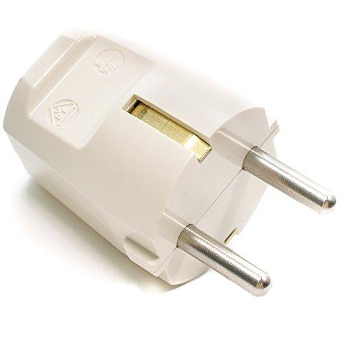 Schuko-Stecker aus Duroplast (Bakelit-Optik), Schutzkontaktstecker, Elfenbein-weiß